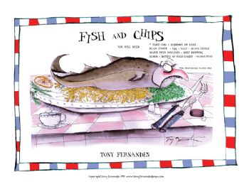 Fish and Chips - signed print